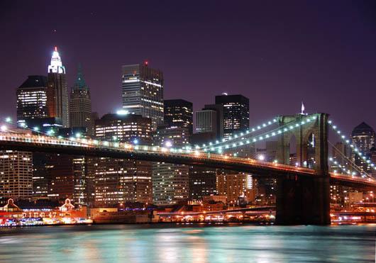 Bilde av Brooklyn Bridge Night Av Anline Ruby